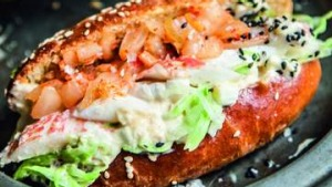 Brioche rolls with crayfish, kimchi and sesame mayonnaise.