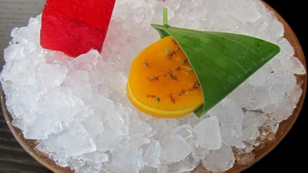 Mango and green ants feature in the 'marinated fresh fruit' dish.