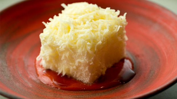 Noma's spin on the lamington: aerated rum cake with grated milk and tamarind sauce.