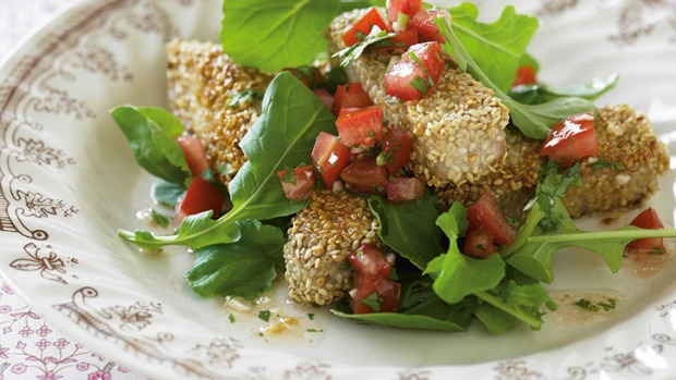 Sesame-coated tuna with coriander salsa.