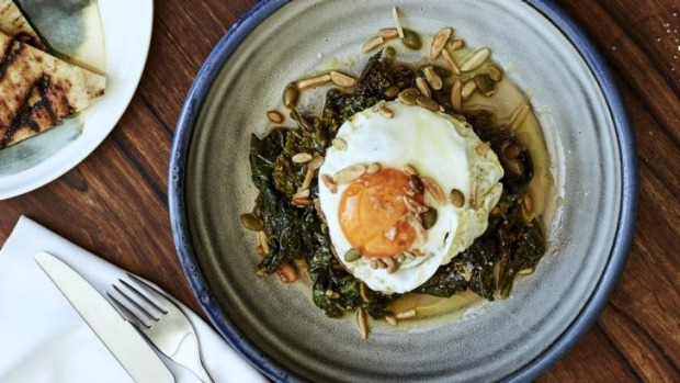 Wild greens braised in tomato, olive oil, grain, nuts, and fried eggs.