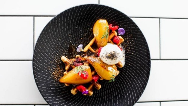 Buckle up for bracing breakfasts at Barista & Cook - such as buckwheat waffles with butterscotch pears, raspberries and ...