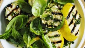 Grilled zucchini with basil and mint.