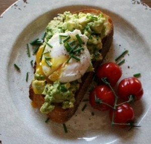 Brunch is served ... a poached egg on avocado toast.