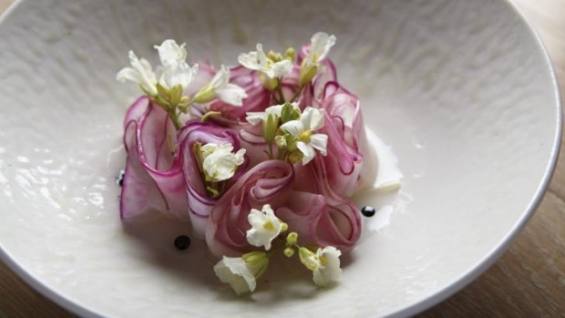 Kohlrabi, enoki and fermented apple is one of the new vegetarian offerings at Yellow.