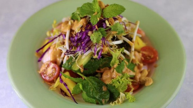 Miss Sunshine salad with rice noodles and hot chilli dressing.
