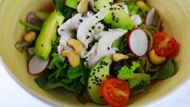 The signature Greenhouse salad with coconut black sesame dressing.