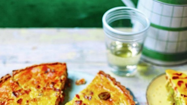 Leek and bacon quiche.
