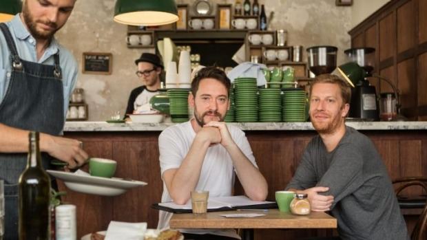 Need A Barista founders Alex Bray (left) and Tom Gould at Little Henri cafe in Northcote.