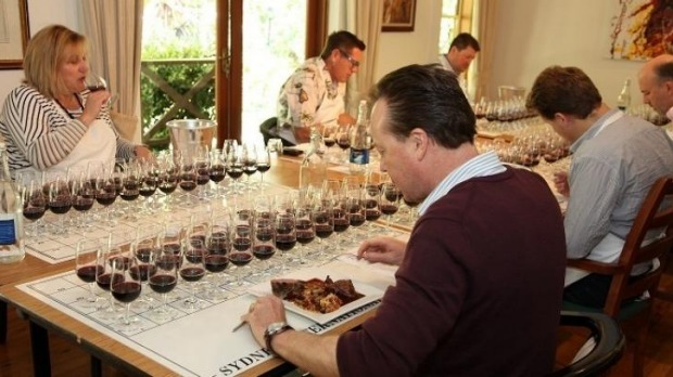 Food first: Judges taste the food and then sip the wines, to see if they go well together.