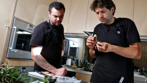 Peter Gunn (left) working with Attica's Ben Shewry in the Ripponlea restaurant's test kitchen in 2014.