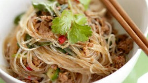 Spicy pork and noodle stir-fry.