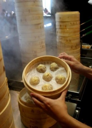 Soaking in hot water overnight is a good way to get any remnant dumpling skins off your bamboo steamer.