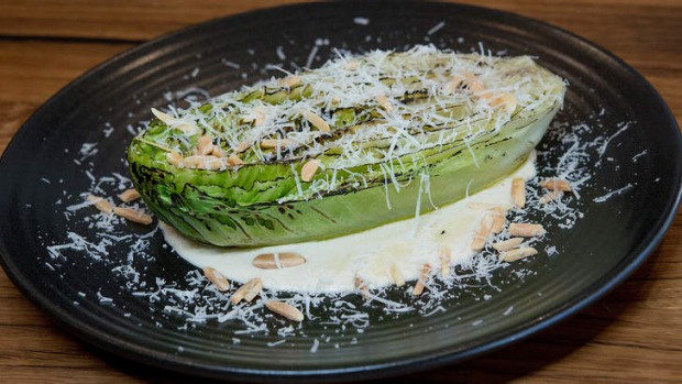 Grilled cos lettuce with almond puree and pecorino.
