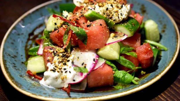 Watermelon and fresh mint salad.