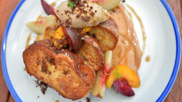 French toast with stone fruit and coffee mascarpone.