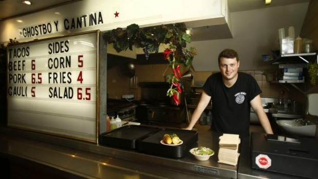 Hole-in-the-wall: Toby Wilson, owner of Ghostboy Cantina, has moved on from making coffee.