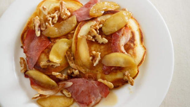 Buttermilk pancakes with apple, bacon, walnuts and spiced maple.