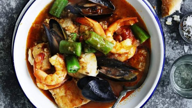 One-pot wonder: Brown rice and seafood gumbo.