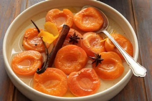 Poached apricots with orange blossom.