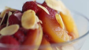Stewed apricots with raspberry compote.