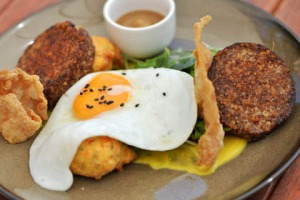 Spice-crusted white pudding with sweet corn fritters at Jack B Nimble.