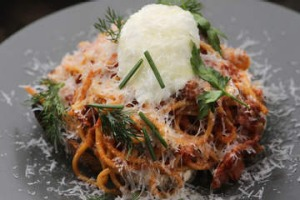 Spaghetti on toast served at Second Home in Eltham.