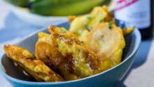 Twice-cooked plantains are an exotic drinking snack.