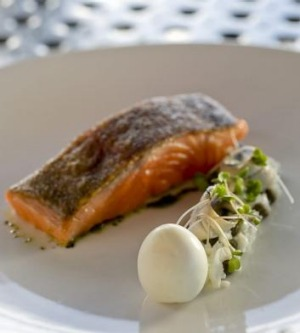 Confit ocean trout with egg, at the Lane Vineyard, Hahndorf.