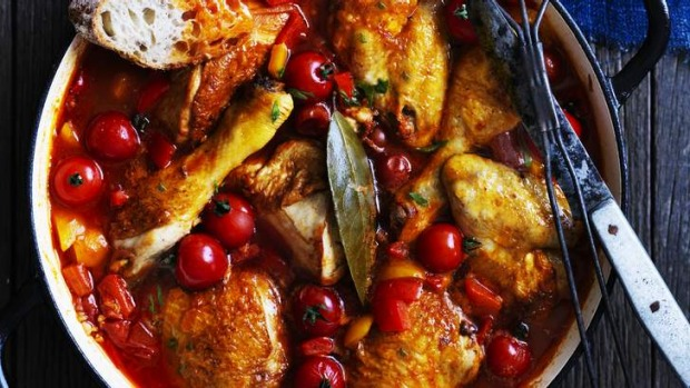 Italian chicken with capsicum and summer tomatoes.