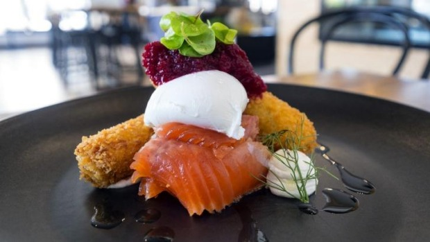 Citrus-cured ocean trout, potato and fennel croquettes, beetroot relish, poached egg and lemon labna.