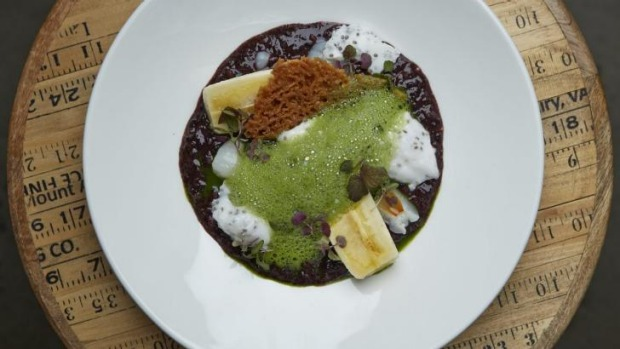 'The Necchi': sticky black rice pudding with matcha foam.