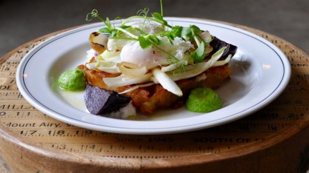 'The Seamstress': waffle hash brown with beetroot, pea puree and poached eggs.