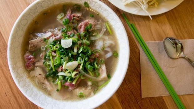 Rare beef and brisket pho made with a 12-hour broth.