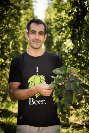 Ben Kraus, of Bridge Road Brewers, with the new season's hops.