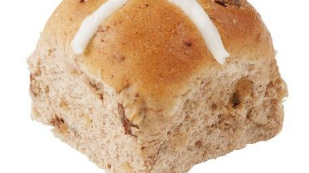 ALDI's hot cross buns are packed with fruit.