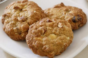 White chocolate and date biscuits.