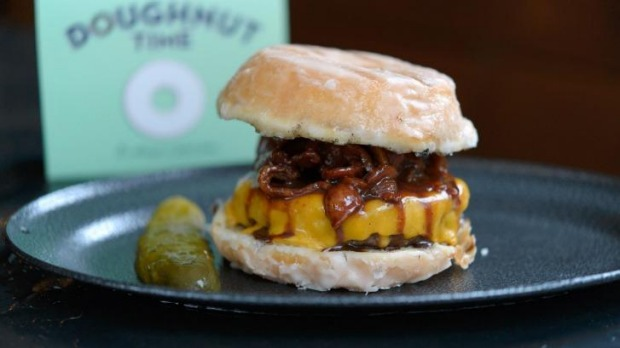 Don't tell your doctor about Ze Pickle's Nutella-smoked bacon burger with doughnuts.