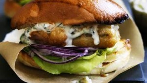 Whiting sandwiches with crab tartare sauce.