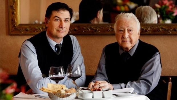 Marc Polese and father Beppi Polese at their landmark Sydney restaurant Beppi's in 2014.