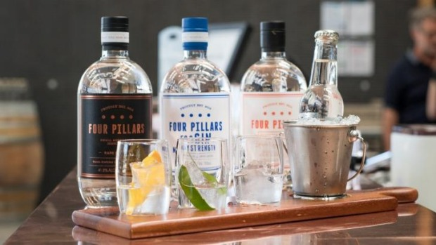 A tasting flight of Four Pillars gins at the distillery and tasting room in Healesville.