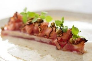 Yellowfin tuna, guanciale and fermented peas is the go-to dish.