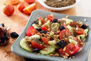 Tomatoes, pickles, za'atar and yoghurt-tahini dressing.