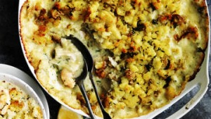 Seafood pie with potato crust.