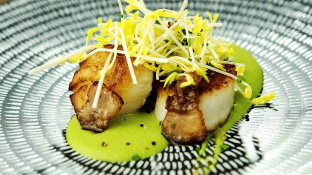 The plump scallops are perfectly cooked.