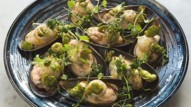 Mount Martha mussels with celeriac puree and broad beans.