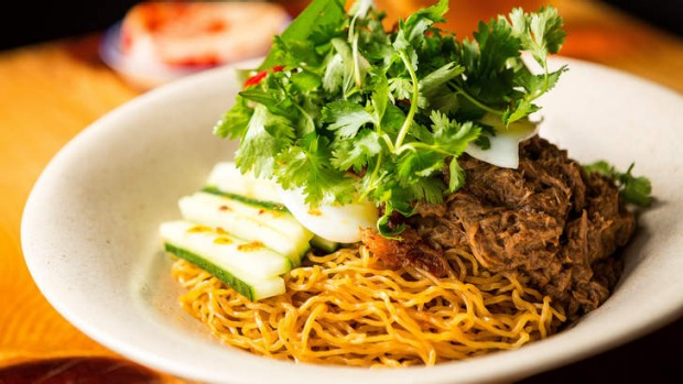 Aromatic: Shredded duck, fresh herbs, quail eggs and egg noodles.