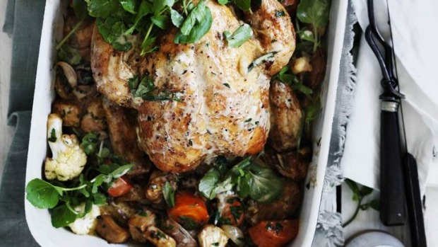 "Roast chicken and ""very important"" vegetables."