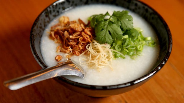 Customise your congee (rice porridge) with century egg, Chinese doughnuts or oysters.