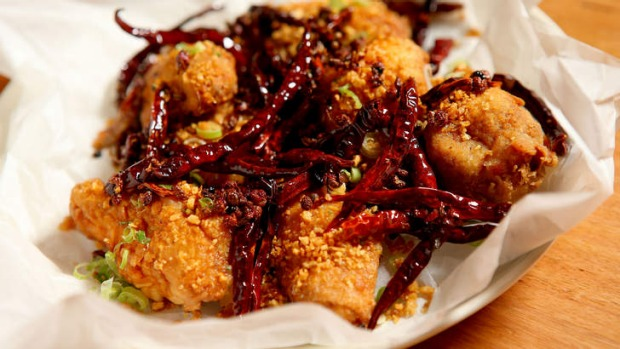 Chongqing-style fried chicken with chilli and pepper.